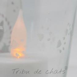 Photophore Noël, chat Père Noël, verre, détail gravure, Tribu de chats