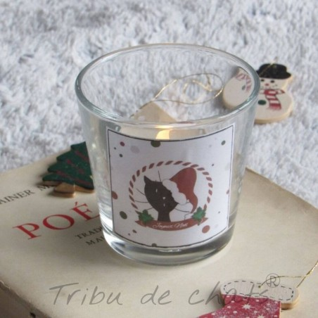 Photophore Noël, chat Père Noël, verre, exemple, Tribu de chats