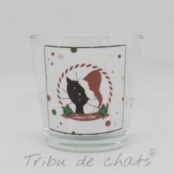 Photophore Noël, chat Père Noël, verre, Tribu de chats
