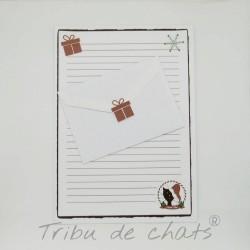 Papier à lettre de Noël, chat avec un bonnet de Père Noël, Tribu de chats