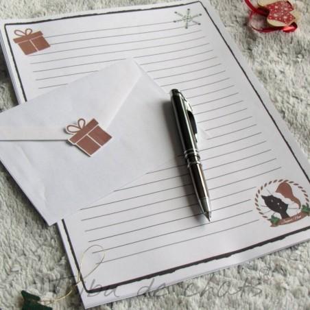 Papier à lettre de Noël, chat avec un bonnet de Père Noël, exemple, Tribu de chats