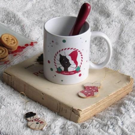 Mug de Noël, chat avec un bonnet de Père Noël, Tribu de chats