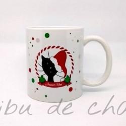 Mug de Noël, chat avec un bonnet de Père Noël, Tribu de chats.