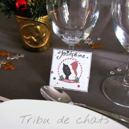 Marque place de Noël, chat avec un bonnet de Père Noël, table de Noël, Tribu de chats