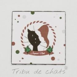 Marque place de Noël, chat avec un bonnet de Père Noël, Tribu de chats