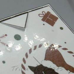 Marque page chat avec bonnet de Père Noël, détail encoche et finition plastifiée, Tribu de chats
