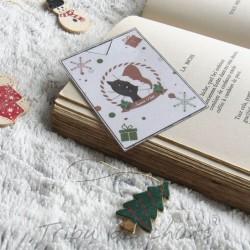 Marque page chat avec bonnet de Père Noël, lecture cocooning, Tribu de chats