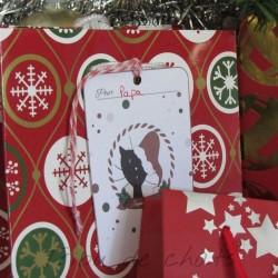Etiquette cadeau de Noël avec lien, chat avec bonnet de Père Noël, Tribu de chats