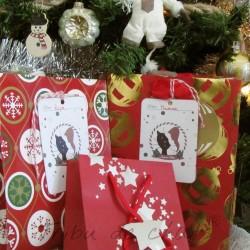 Etiquettes cadeaux de Noël, chat avec bonnet de Père Noël, à accrocher sur les paquets cadeaux, Tribu de chats