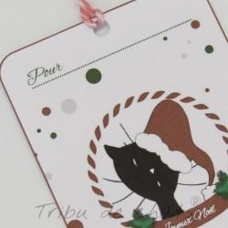 Etiquettes cadeaux de Noël, chat avec bonnet de Père Noël, détail, Tribu de chats