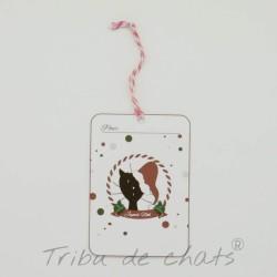 Etiquettes cadeaux de Noël, chat avec bonnet de Père Noël, Tribu de chats