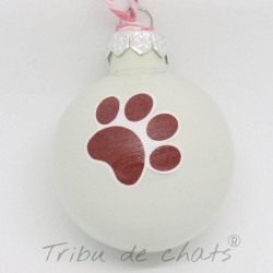 4 Boules de Noël en verre détail motif patte de chat, Tribu de chats