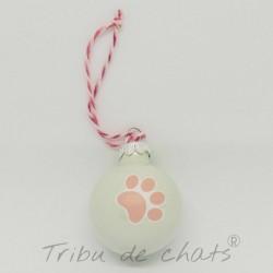 4 Boules de Noël en verre patte de chat rose, Tribu de chats