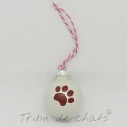 4 Boules de Noël en verre patte de chat rouge, Tribu de chats