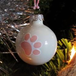 Boules de Noël chat, en verre patte de chat rose, exemple sapin de Noël, Tribu de chats