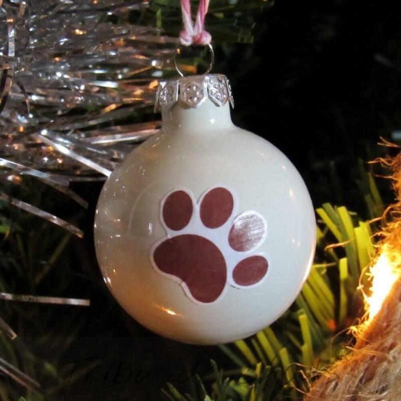 Boules de Noël chat, en verre patte de chat rouge, exemple sapin de noël, Tribu de chats