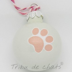 Boules de Noël en verre détail motif patte de chat, Tribu de chats