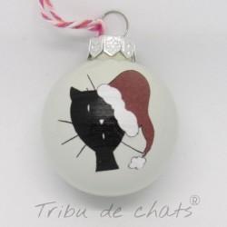Boules de Noël chat, en verre tête de chat avec bonnet de Noël, détail motif chat, Tribu de chats