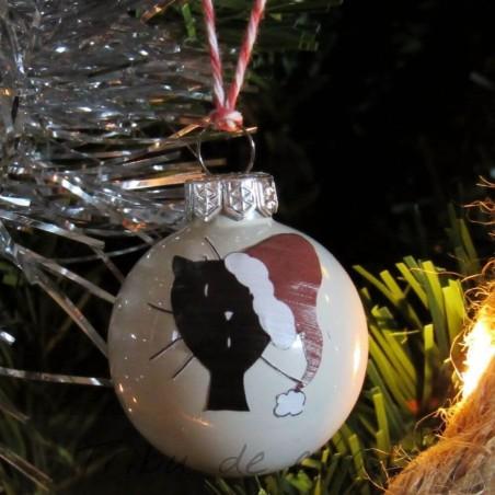 Boules de Noël chat, en verre tête de chat avec bonnet de Noël, exemple sapin de Noël, Tribu de chats