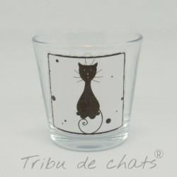 Photophore chat, silhouette de chat noir, verre, Tribu de chats