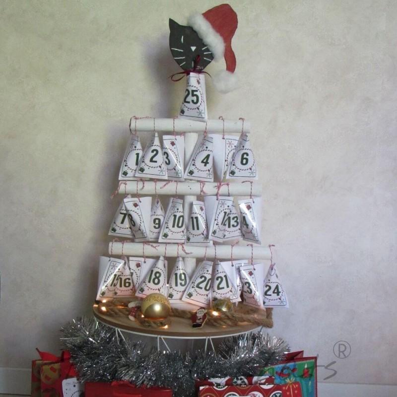 Calendrier de l'avent chat, calendrier bois réutilisable, Tribu de chats
