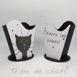 Ensemble de 2 pots à crayons chat, tête de chat et texte, en carton, noir et blanc, Tribu de chats