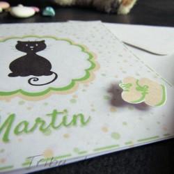 Faire-part de naissance chaton et pois, carte double, thème chat, boutique fans de chat Tribu de chats, détail relief