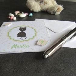 Faire-part de naissance chaton et pois, carte double, thème chat, boutique fans de chat Tribu de chats, présentation