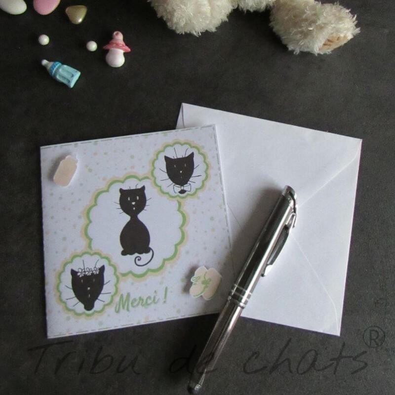 Carte de remerciement de naissance chaton et pois, carte double, thème chat Tribu de chats, exemple