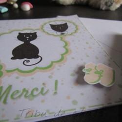 Carte de remerciement de naissance chaton et pois, carte double, thème chat Tribu de chats, détail