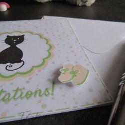 Carte de félicitations de naissance chaton et pois, carte double, thème chat Tribu de chats, détail
