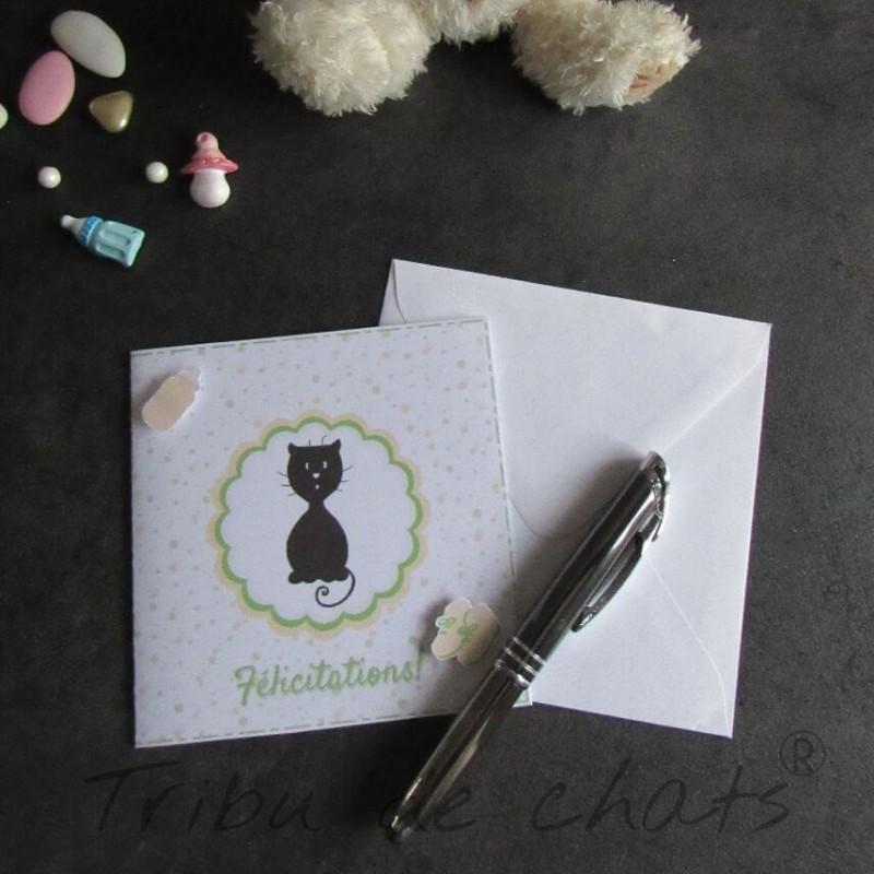 Carte de félicitations de naissance chaton et pois, carte double, thème chat Tribu de chats, exemple