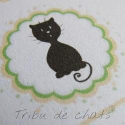 Annonce grossesse, carte surprise chaton et pois, détail motif, Tribu de chats