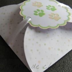 Annonce grossesse, carte surprise chaton et pois, détail pochette, Tribu de chats