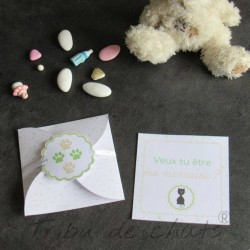 Demande marraine, carte surprise chaton et pois, veux tu être ma marraine, Tribu de chats