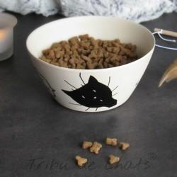 Gamelle hygge pour chat bambou, tête de chat et texte humour, Tribu de chats boutique pour amoureux des chats
