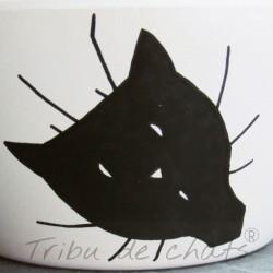 Gamelle pour chat bambou, tête de chat et texte humour, Tribu de chats boutique pour amoureux des chats