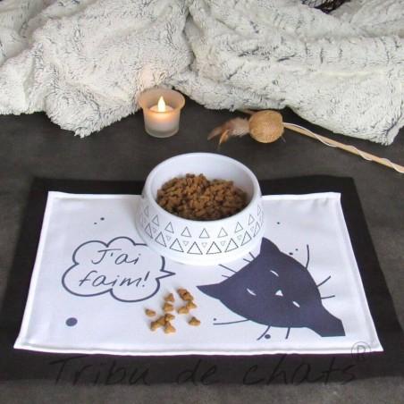 Set de gamelle tissus et feutrine pour chat, tête de chat, Texte humour, Tribu de chats, boutique hygge pour amoureux des chats