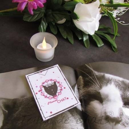 Marque page papier plastifié, Maman chat, motif tête de madame chat, Tribu de chats