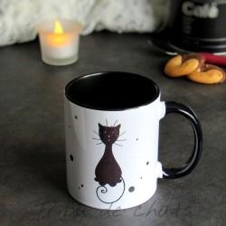 Mug chat, silhouette de chat noir assis, Tribu de chats