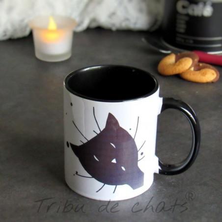 Mug chat, tête de chat noir coucou, Tribu de chats