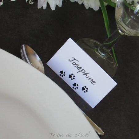 20 Marque-place rectangulaires de mariage, découpe en forme de pattes de chat, Tribu de chats
