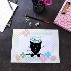 Sous-main chat Pâques, papier plastifié, Tribu de chats