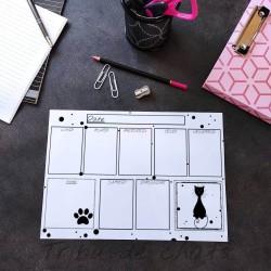 Planning chat effaçable, motif silhouette de chat, Tribu de chats