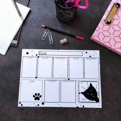 Planning chat effaçable, motif tête de chat, Tribu de chats