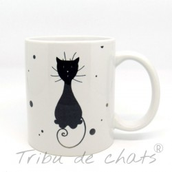 Mug silhouette chat noir assis, Tribu de chats