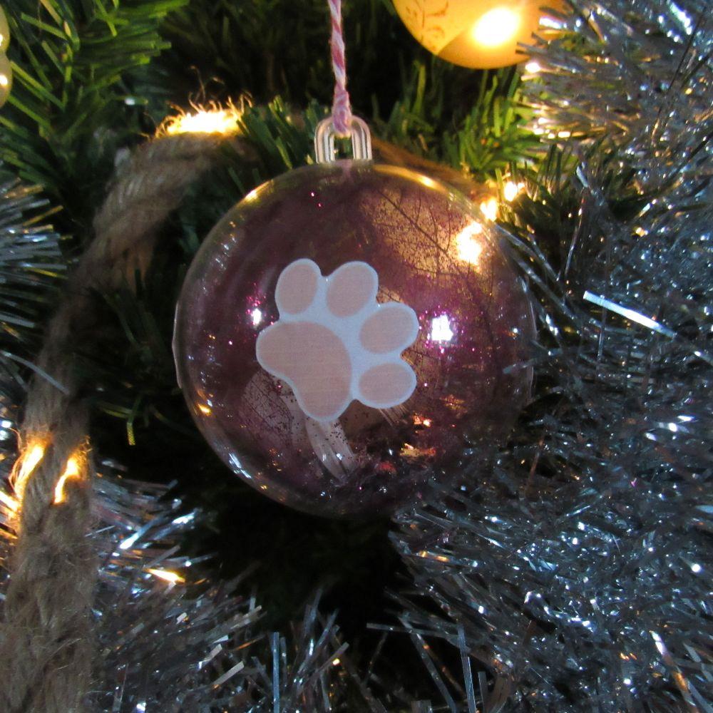 6 Boules de Noël en plastique transparent patte de chat, exemple, Tribu de chats