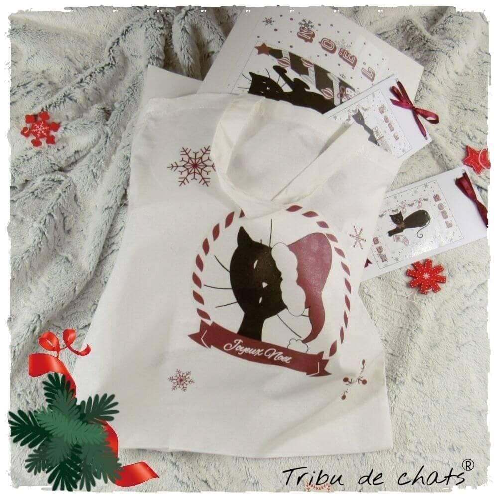 Astuce Sac hotte de père Noël, chat avec bonnet de Noël, Tribu de chats, présentation