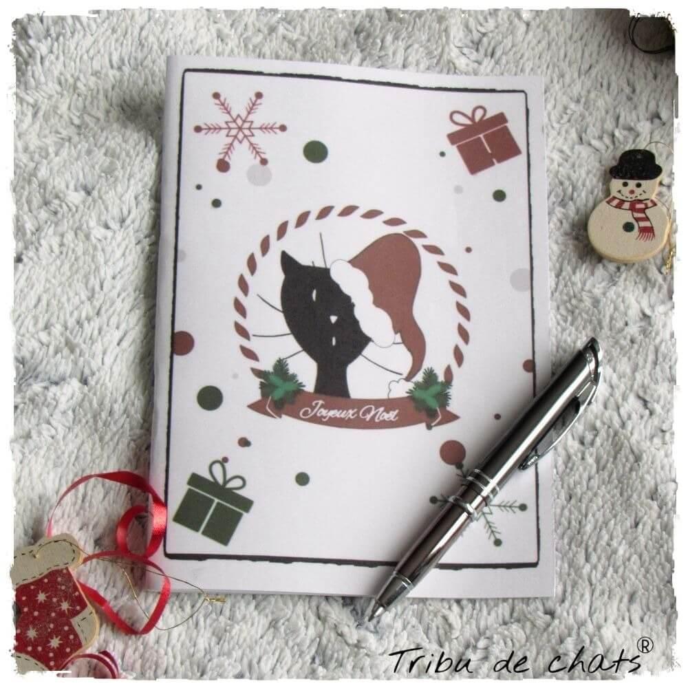 Carnet de notes de Noël chat Père-Noël A5 exemple Tribu de chats