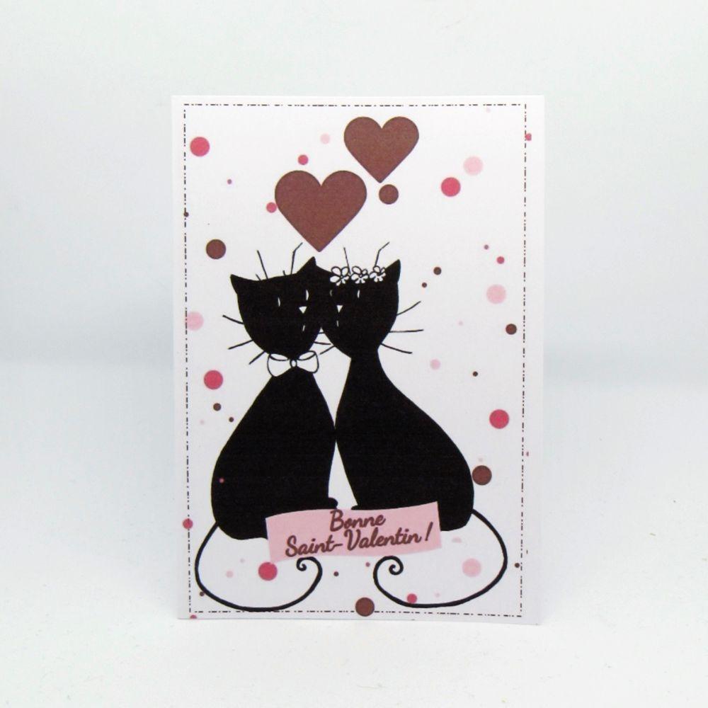 Carte double de Saint-Valentin couple de chats se faisant un bisou, coeurs et pois rouges et roses, Tribu de chats